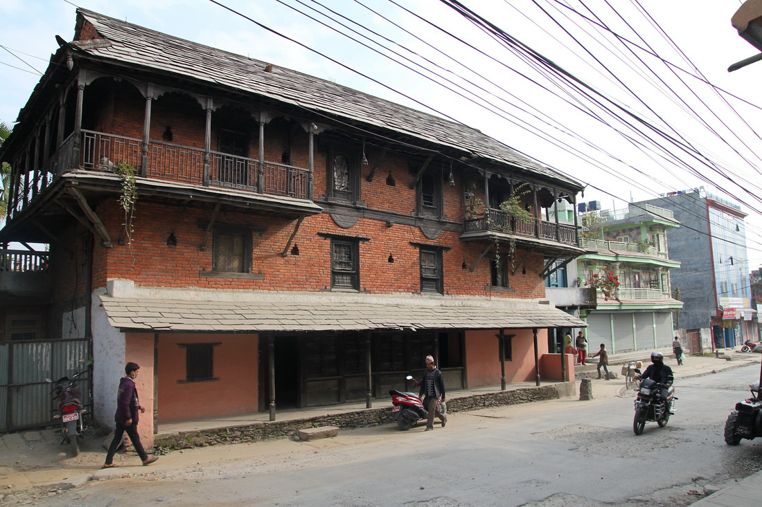Old Newari style building in Pokhara's old Bazaar