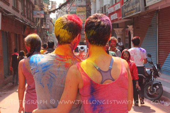Tourists taking a selfie during Holi in Nepal