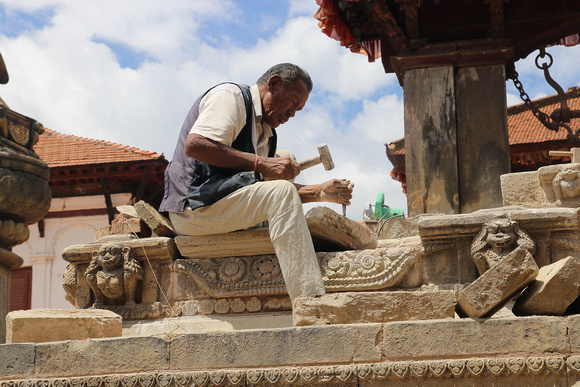 Stone Mason working on the Vatsala Durga Temple in Bhaktapur