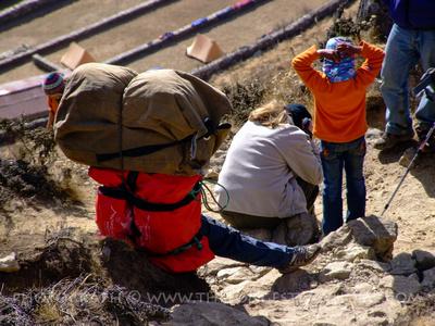 Trekker suffering from high altitude in Nepal