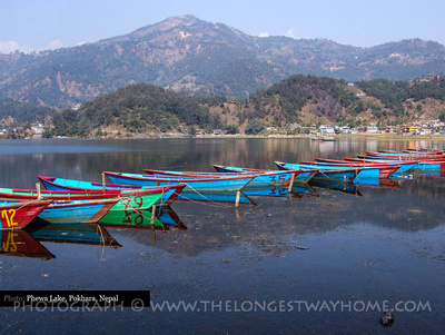 Rowing boats on lake Phewa Tal in Pokhara