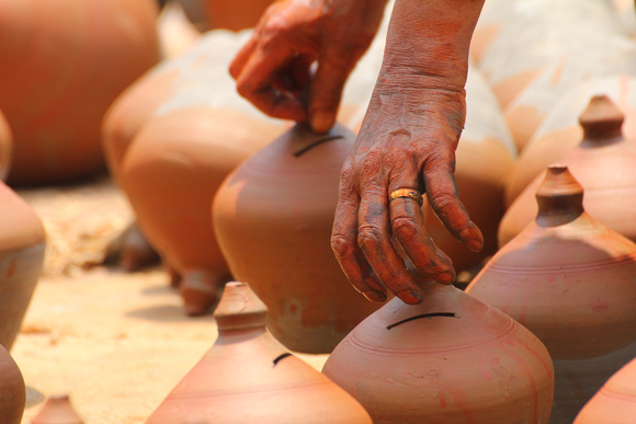 Turning baking pots in Bhaktapur's Pottery Square