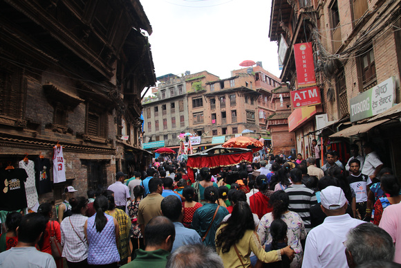 The streets of Bhaktapur can get very crowded during Gai Jatra