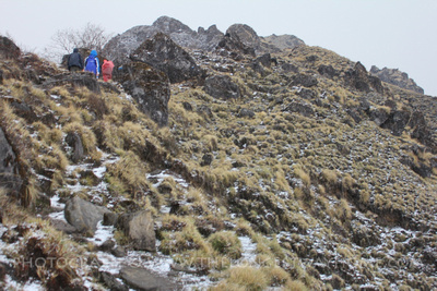 Snow and hailstones in the Mardi Himal during February / March