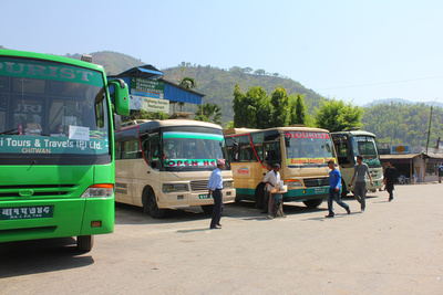 Tourist buses to Chitwan National Park