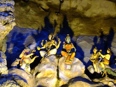 Hindu statues inside Batu Caves in Malaysia