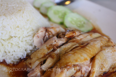 Hainanese chicken rice with bone