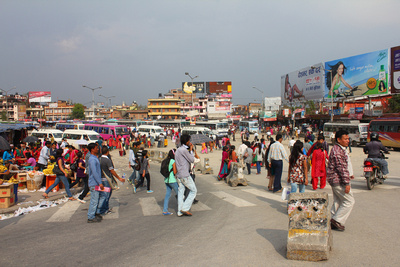 Ratna Bus park in Kathmandu during a normal day