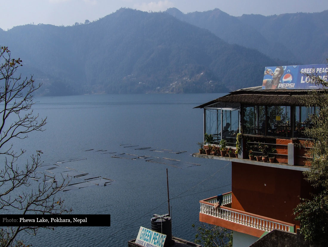 View overlooking Lake Phewa Pokhara, Nepal