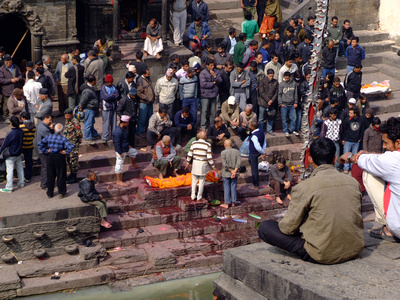 Locals watching a cremation at Pashupatinath