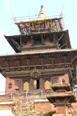 Taleju temple in Kathmandu Durbar Square under repair