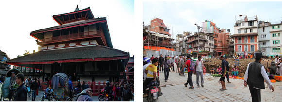 This is Kasamandap - Kathmandu's first building photographed both before and after the earthquake