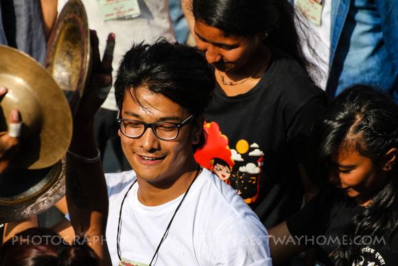 Musician laughs at Indra Jatra