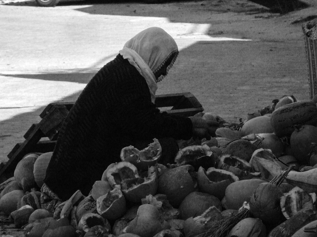 Woman seeding pumpkins in Turkey