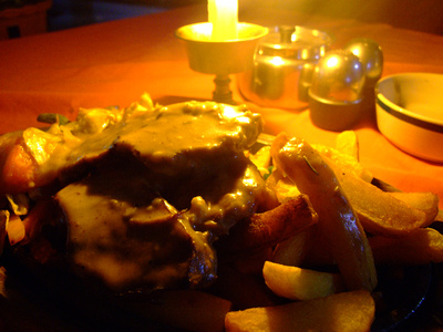 Steak by candlelight in Nepal