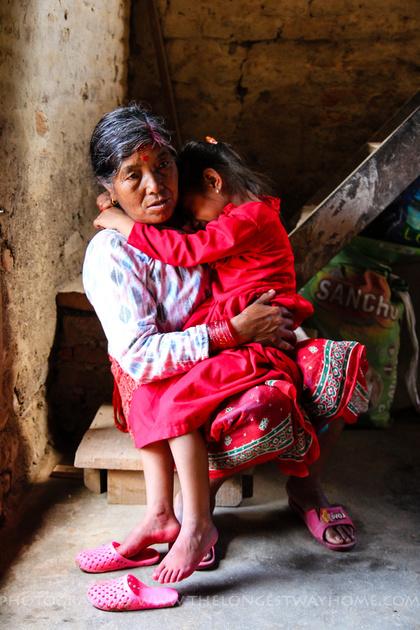 Kinjal with her grandmother falling asleep
