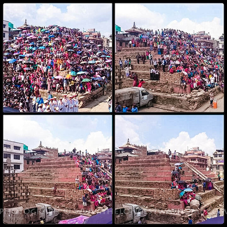 Collage of crowds growing during Indra Jatra