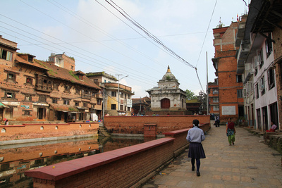 Royal palace and pond on the way to Bagh Bhairab temple in Kirtipur