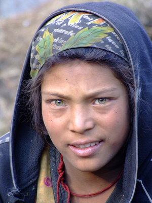 A Nepali girl with green eyes