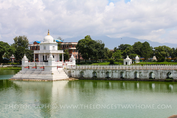 The beautiful Rani Pokhari temple during the day