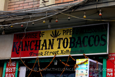 Sign for tobacco in Freak Street