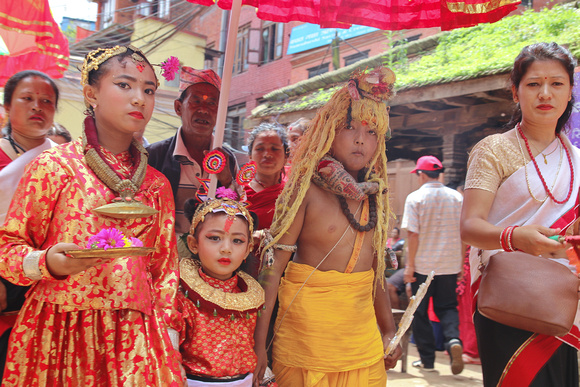 Newari children from Bhaktapur dressed up for Gai Jatra