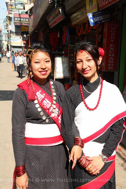 Newari girls in traditional Newar dress