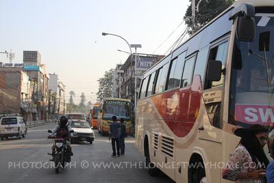 Kathmandu to Pokhara buses line up along Kantipath