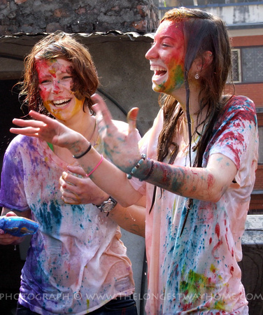 Tourists enjoying Holi in Nepal