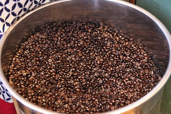 Freshly roasted coffee beans from Himalaya Java in Kathmandu