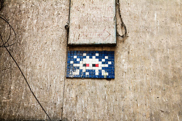 One of the tiled space invaders from the French artist