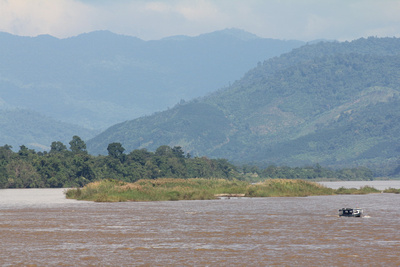 The Golden Triangle Sandbar in North Thailand