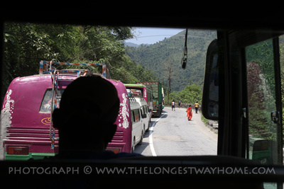 Traffic jam on the Kathmandu to Pokhara bus route