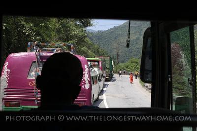 Traffic jam on the Kathmandu to Pokhara bus route