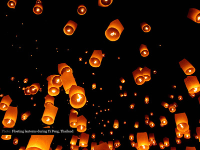 Sky filled with floating lanterns during Yi Peng