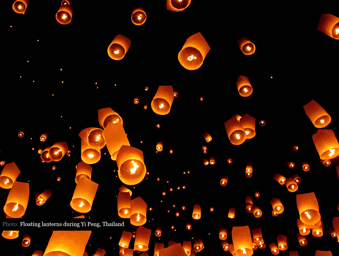 Floating Paper Lanterns at the Yee Peng festival in Thailand