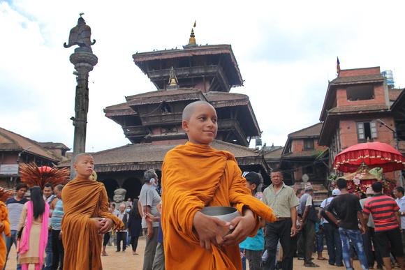 Buddhist monksduring Bhaktapur's Gai Jatra