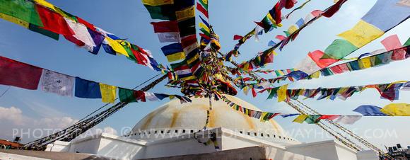 Prayer flags at Boudhanath Stupa, Nepal