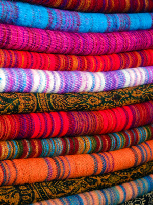 A stack of colorful cashmere from Nepal