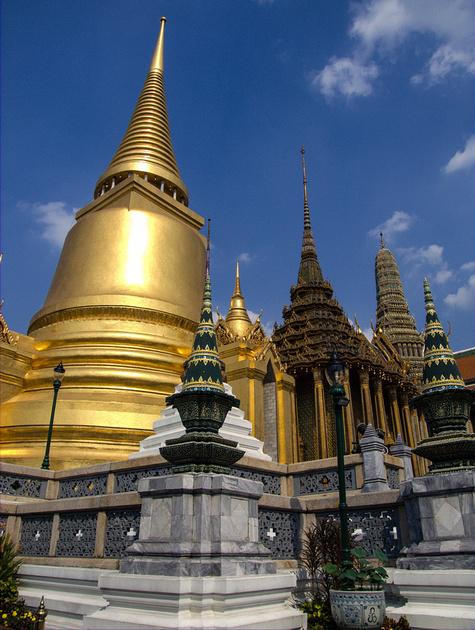 The three pagodas by the Emerald Buddha Statue in Bangkok