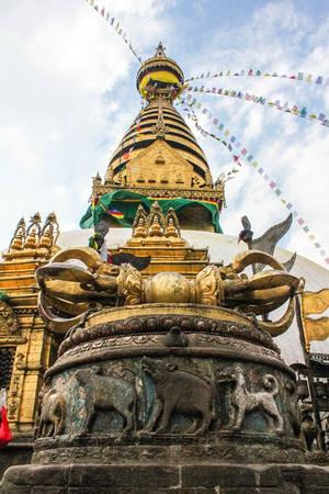 golden Vajra in front of Swayambhunath stupa