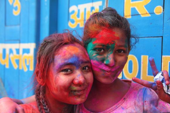 Nepalese girls during Holi