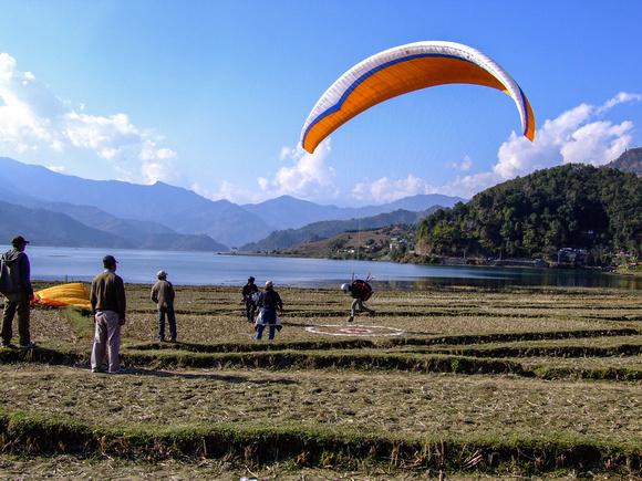 Paraglider landing in Pokhara