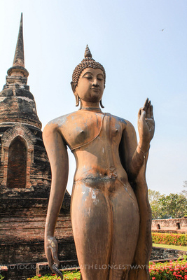 The walking Buddha statue of Sukhothai