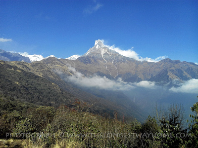 Beautiful clear skies in Annapurna during October in Nepal