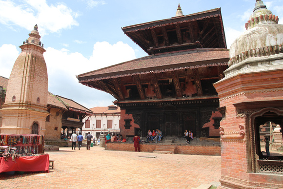 a tall Narayan temple completely reconstructed in 2016/17 in Bhaktapur Durbar Square