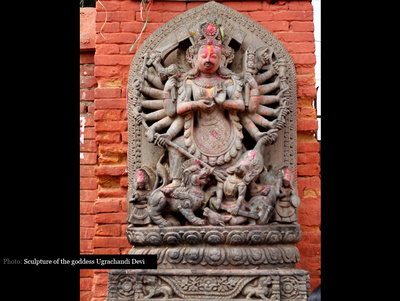 Famous statue of the goddess Ugrachandi Devi in Bhaktapur Nepal