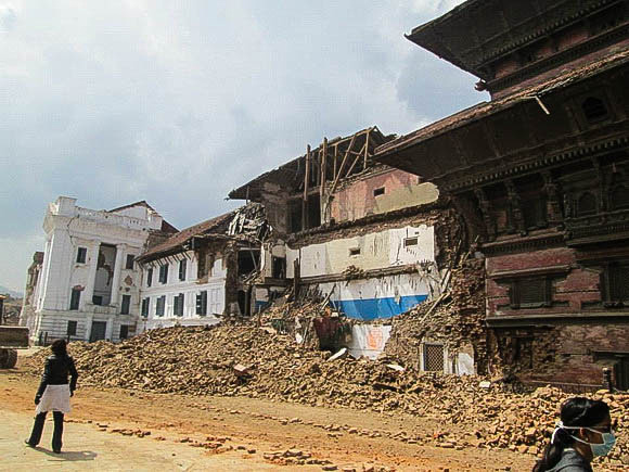 The south side of Kathmandu Durbar Square after the earthquake
