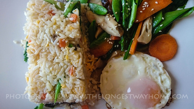 Thai stir fried rice with mushrooms and vegetables