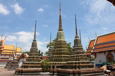 Tiled Chedis at Wat Pho